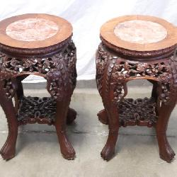 2 marble rosewood stools