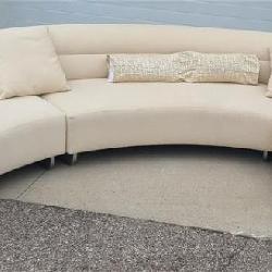 Calcutta Three Piece Cream Curved Sectional by Lazar Furniture