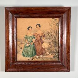 COLORED PENCIL DRAWING | Hand-drawn, showing two young girls in Victorian garb; 11-1/2 x 11-1/2 in.