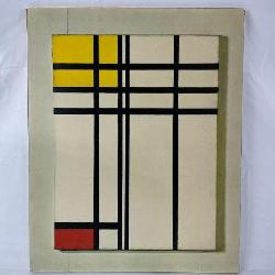 Piet Mondrian Opposition Of Lines: Red And Yellow, Print On Board Of 1937 Oil On Canvas. Dutch Artist Piet Mondrian (1872 - 1944).