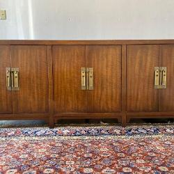 Mid Century Modern Solid Wood Buffet Credenza By Heritage. Brass Hang Style Hardware, Very Sturdy Dovetail Construction.