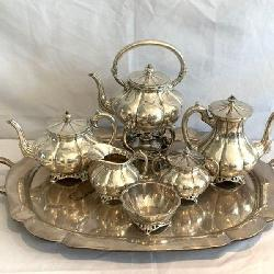 Outstanding 7 Piece Sterling Silver Tea Service Set By Sanborns Of Mexico. This Set Weighs In At A Hefty 18lbs 7ozs.