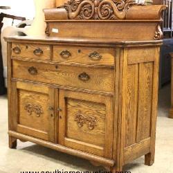 ANTIQUE Oak Carved 3 Drawer 2 Door Buffet with Fancy Backsplash and Panel Sides