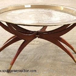 VINTAGE Brass Tray Top Spider Leg 2 Piece Table