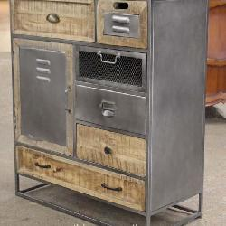 Industrial Style Metal and Wood Rustic Style Multi Drawer Cabinet