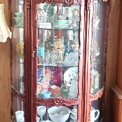 Mahogany Curved Front Curio Cabinet