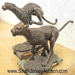 South Jersey Auction by Babington Auction Ins, 26 Repaupo Station Rd, Logan Twp, NJ 08085 Life Size Bronze Running Cheetah and Leopard – Very Cool  Auction Estimate $1000-$2000 each – Locat