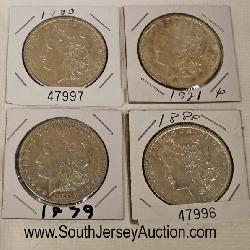 South Jersey Auction by Babington Auction Ins, 26 Repaupo Station Rd, Logan Twp, NJ 08085,Selection of Silver Morgan Dollars  Auction Estimate $20-$50 – Located Glassware