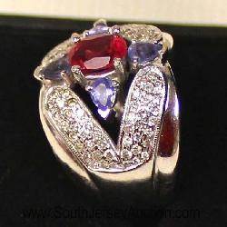 South Jersey Auction by Babington Auction Ins, 26 Repaupo Station Rd, Logan Twp, NJ 08085,Victorian 14 Karat White Gold Diamond, Amethyst, and Ruby Cocktail Ring  Auction Estimate $500-$100