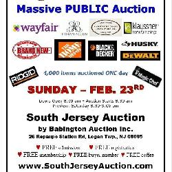 Massive PUBLIC auction - February 23rd Sunday Funday www.SouthJerseyAuction.com (856) 467-4834