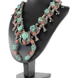 Old Pawn Sterling Turquoise Coral Squash Blossom Necklace