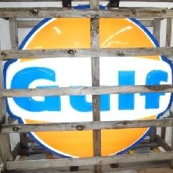 NOS IN CRATE EMB. GULF POLE SIGN