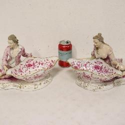pair Meissen candy compote