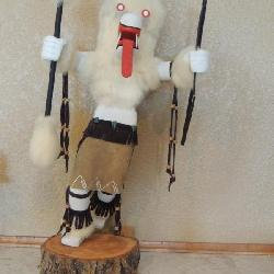 Wolf Dancer Kachina Doll M2289 on bottom on wood base 24x12