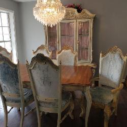 Ice Blue Velvet Vintage Dining Room Set