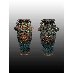 CHINESE SILVER ENAMEL VASES