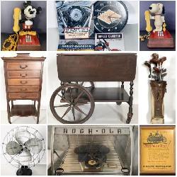 Rock Ola Jukebox, Vintage Tea Cart, Bombay Vanity, Vintage Mikey & Snoopy Phones, Harley Davidson Items & More!