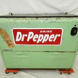 EARLY DR. PEPPER COOLER W/ PORC. SIGN